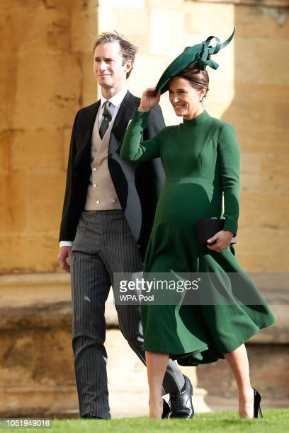 James Matthews and wife Pippa Middleton arrive ahead of the wedding of Princess Eugenie of York and Mr Jack Brooksbank at St George's Chapel on...