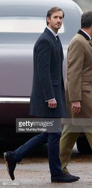James Matthews attends the Sunday service at St Mary Magdalene Church Sandringham on January 8 2017 in King's Lynn England