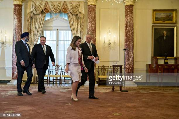 James Mattis US secretary of defense from right Chrystia Freeland Canada's minister of foreign affairs Mike Pompeo US secretary of state and Harjit...