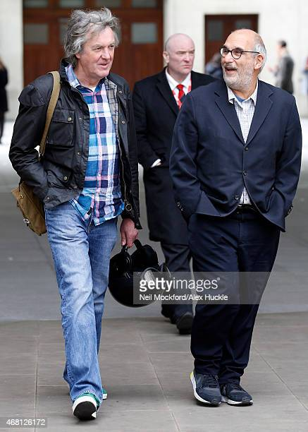 James May and Alan Yentob seen at the BBC Portland Place on March 30 2015 in London England