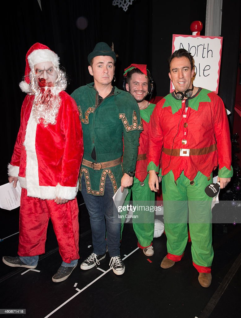 LONDON, ENGLAND - DECEMBER 19 (L-R) James May, Shane Richie, Richie Firth and Christian O'Connell participate in the Christian O'Connell Breakfast Show 'Zombie Claus 2' at Absolute Radio on December 19, 2014 in London, England.
