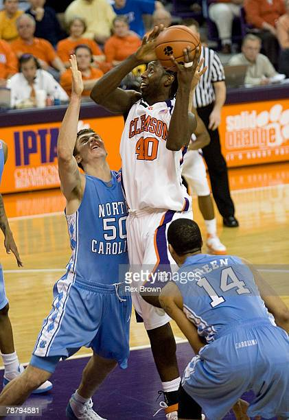 James Mays of the Clemson Tigers goes up over Tyler Hansbrough of the North Carolina Tar Heels for this second half shot at Littlejohn Coliseum...