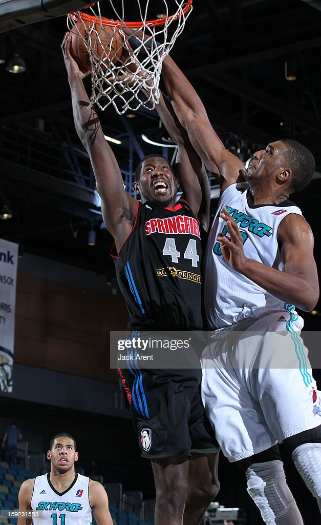 James Mays #44 of the Springfield Armor slam dunks the ball against the Sioux Falls Skyforce during the 2013 NBA D-League Showcase on January 9, 2013 at the Reno Events Center in Reno, Nevada.