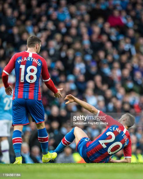 James McArthur and Cenk Tosun of Crystal Palace during the Premier League match between Manchester City and Crystal Palace at Etihad Stadium on...