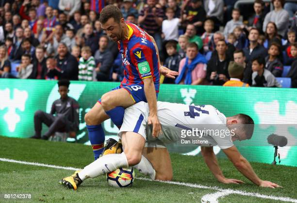 James McArthur of Crystal Palace and Gary Cahill of Chelsea battle for possession during the Premier League match between Crystal Palace and Chelsea...