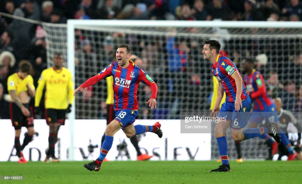 James McArthur of Crystal Palace celebrates after scoring his sides second goal during the Premier League match between Crystal Palace and Watford at Selhurst Park on December 12, 2017 in London, England.