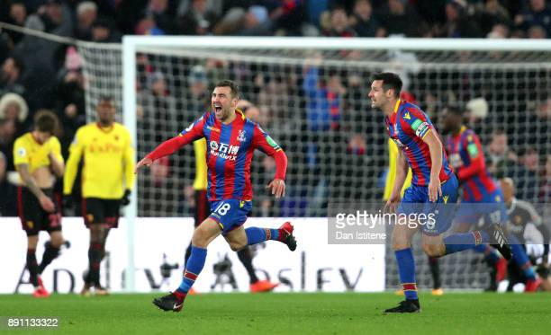James McArthur of Crystal Palace celebrates after scoring his sides second goal during the Premier League match between Crystal Palace and Watford at...