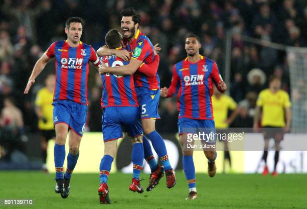 James McArthur of Crystal Palace celebrates after scoring his sides second goal with James Tomkins during the Premier League match between Crystal...