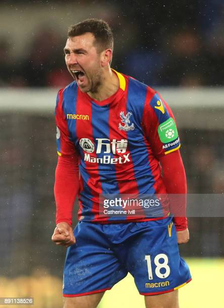 James McArthur of Crystal Palace celebrates after the Premier League match between Crystal Palace and Watford at Selhurst Park on December 12 2017 in...