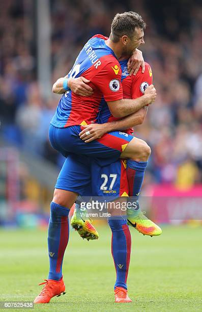 James McArthur of Crystal Palace celebrates scoring his sides third goal with Damien Delaney of Crystal Palace during the Premier League match...