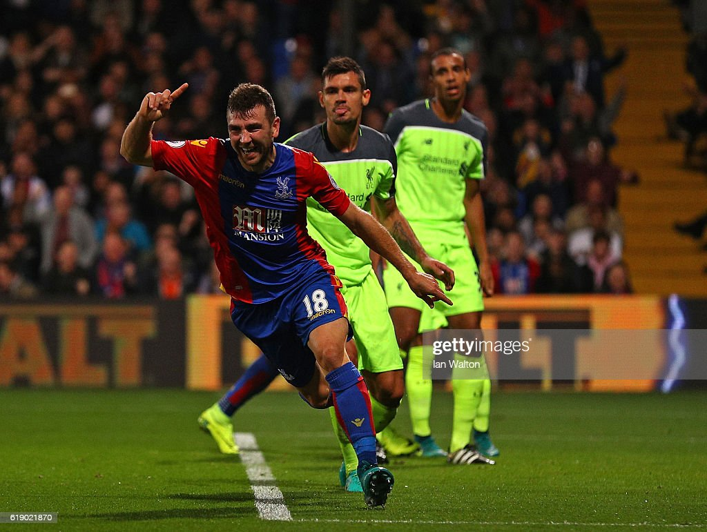 James McArthur of Crystal Palace celebrates scoring his team's second goal during the Premier League match between Crystal Palace and Liverpool at Selhurst Park on October 29, 2016 in London, England.