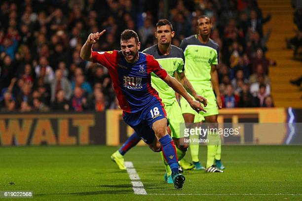 James McArthur of Crystal Palace celebrates scoring his team's second goal during the Premier League match between Crystal Palace and Liverpool at...