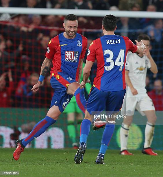 James McArthur of Crystal Palace celebrates scoring their first goal during the Premier League match between Crystal Palace and Manchester United at...