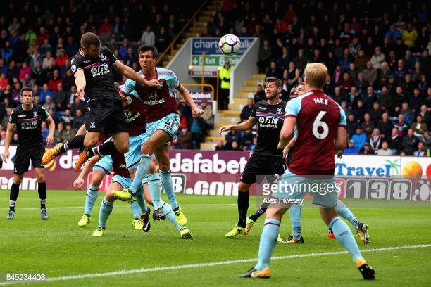 James McArthur of Crystal Palace heads at goal during the Premier League match between Burnley and Crystal Palace at Turf Moor on September 10 2017...