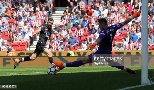 James McArthur of Crystal Palace scores his sides first goal during the Premier League match between Stoke City and Crystal Palace at Bet365 Stadium...