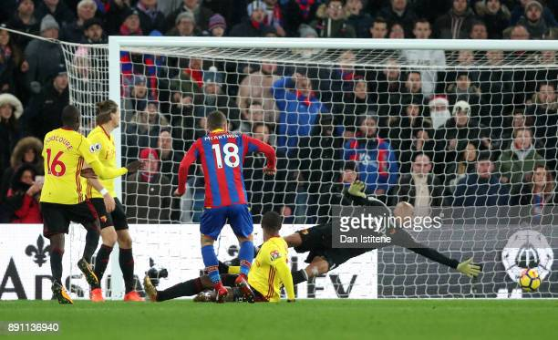 James McArthur of Crystal Palace scores his sides second goal during the Premier League match between Crystal Palace and Watford at Selhurst Park on...
