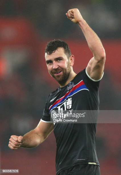James McArthur of Crystal Palace shows appreciation to the fans after the Premier League match between Southampton and Crystal Palace at St Mary's...