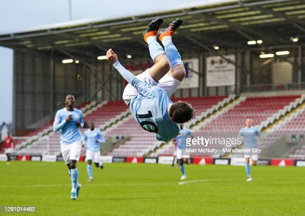 James McAtee of Manchester City celebrates after scoring his teams first goal during the Premier League 2 match between Manchester United and...