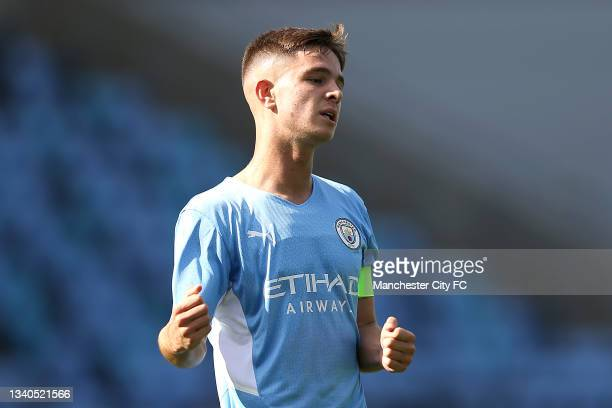 James McAtee of Manchester City celebrates after scoring their side's first goal during the UEFA Youth League match between Manchester City and RB...