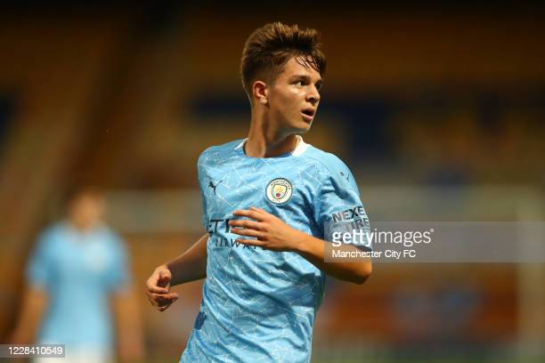 James McAtee of Manchester City during the EFL Trophy match between Mansfield Town and Manchester City U21 at One Call Stadium on September 8, 2020...