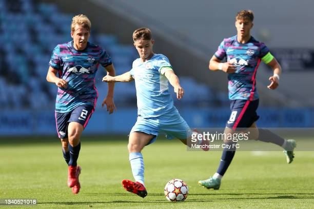 James McAtee of Manchester City scores their side's first goal during the UEFA Youth League match between Manchester City and RB Leipzig at...