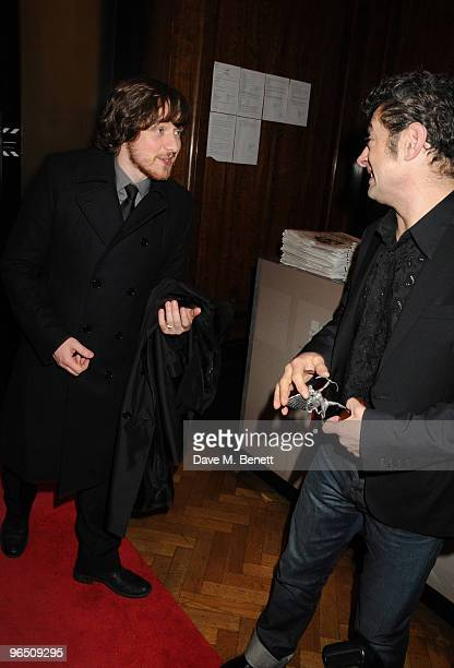 James McAvoy and Andy Serkis attend the London Evening Standard British Film Awards 2010 at The London Film Museum on February 8 2010 in London...