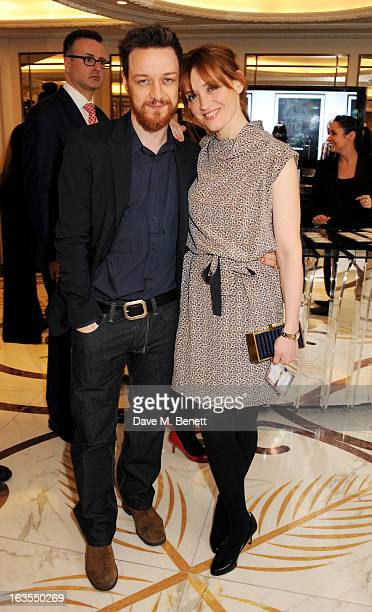 James McAvoy and AnneMarie Duff arrive at the 2013 South Bank Sky Arts Awards at The Dorchester on March 12 2013 in London England