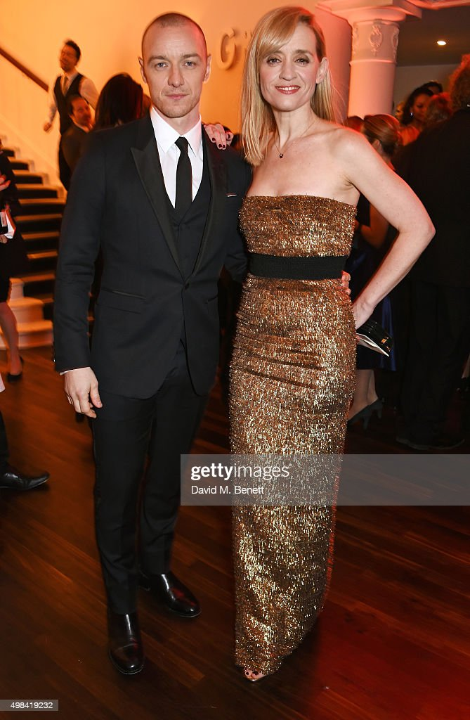 James McAvoy (L) and Anne-Marie Duff attend a champagne reception ahead of The London Evening Standard Theatre Awards in partnership with The Ivy at The Old Vic Theatre on November 22, 2015 in London, England.