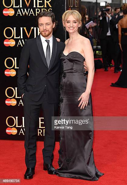 James McAvoy and AnneMarie Duff attend The Olivier Awards at The Royal Opera House on April 12 2015 in London England