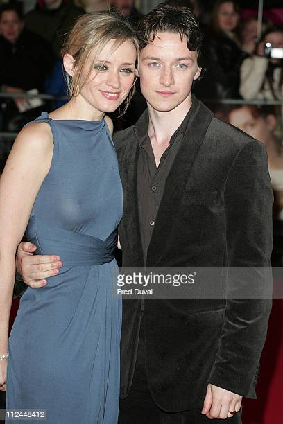 James McAvoy and AnneMarie Duff during 'Becoming Jane' London Premiere Arrivals at Odeon West End in London Great Britain