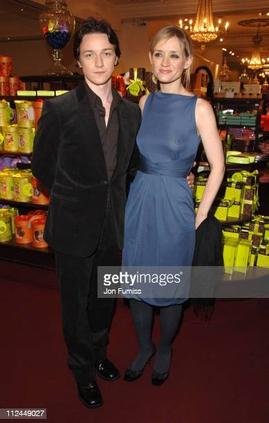 James McAvoy and AnneMarie Duff during Becoming Jane London Premiere Party at Fortnum Mason in London Great Britain