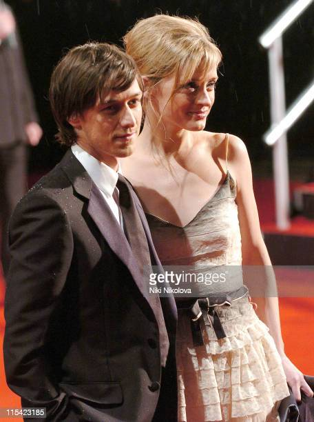 James McAvoy and AnneMarie Duff during The Orange British Academy Film Awards 2006 Arrivals at Odeon Leicester Square in London Great Britain