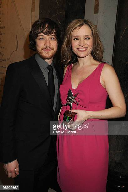 James McAvoy and AnneMarie Duff with her Best Actress Award attend the London Evening Standard British Film Awards 2010 at The London Film Museum on...