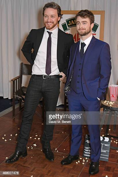 James McAvoy and Daniel Radcliffe pose in the Winners Room after presenting an award at the Jameson Empire Awards 2015 at Grosvenor House on March 29...
