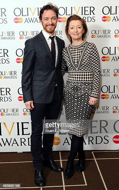 James McAvoy and Lesley Manville attend the nominations photocall for the Olivier Awards at Rosewood London on March 9 2015 in London England