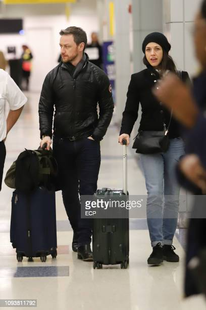 James Mcavoy and Lisa Liberati arrive at JFK airport on January 13 2019 in New York City