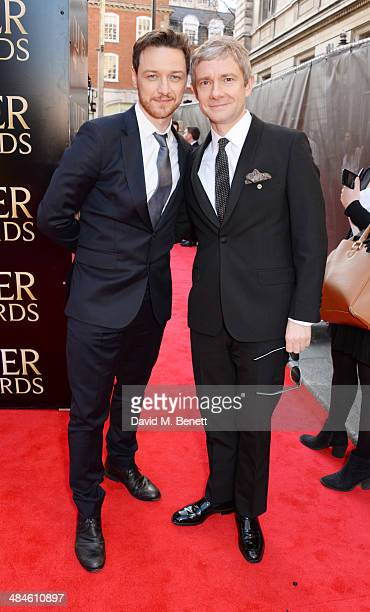James McAvoy and Martin Freeman attend the Laurence Olivier Awards at The Royal Opera House on April 13 2014 in London England