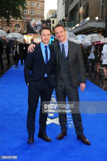 James McAvoy and Michael Fassbender arriving at the X-Men Days of Future Past UK premieree, at The West End Odeon, Leicester Square, London.
