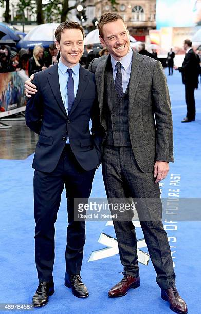 James McAvoy and Michael Fassbender attend the UK Premiere of 'XMen Days of Future Past' at Odeon Leicester Square on May 12 2014 in London England