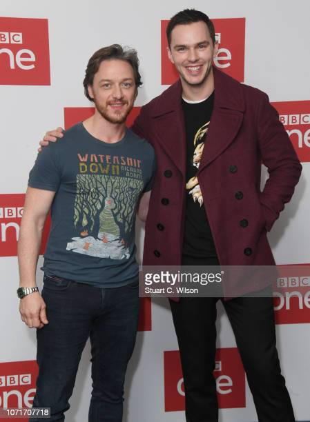 James McAvoy and Nicholas Hoult pose during a photocall for BBC One's 'Watership Down' at BFI Southbank on November 24 2018 in London England