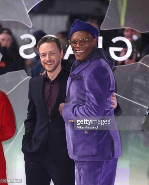 James Mcavoy and Samuel L Jackson attends the UK Premiere of Glass at The Curzon Mayfair on January 9 2019 in London England
