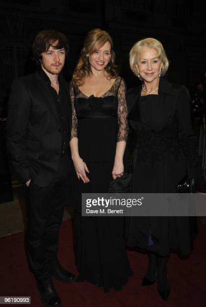 James McAvoy AnneMarie Duff and Helen Mirren attend the UK film premiere of 'The Last Station' at The Curzon Cinema Mayfair on January 26 2010 in...