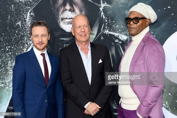 """James McAvoy, Bruce Willis and Samuel L. Jackson attend the """"Glass"""" New York Premiere at SVA Theater on January 15, 2019 in New York City."""