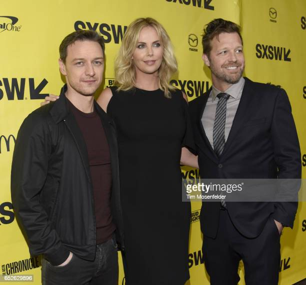 James McAvoy Charlize Theron and David Leitch attend the Film premiere of 'Atomic Blonde' during the 2017 SXSW Conference And Festivals at the...