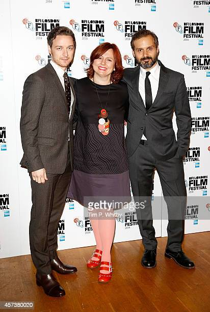 James McAvoy Clare Stewart and Ned Benson attend the red carpet arrivals of 'The Disappearance Of Eleanor Rigby' during the 58th BFI London Film...