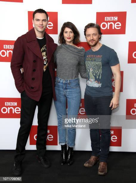 James McAvoy Gemma Arterton and Nicholas Hoult attends a photocall for BBC One's 'Watership Down' at BFI Southbank on November 24 2018 in London...