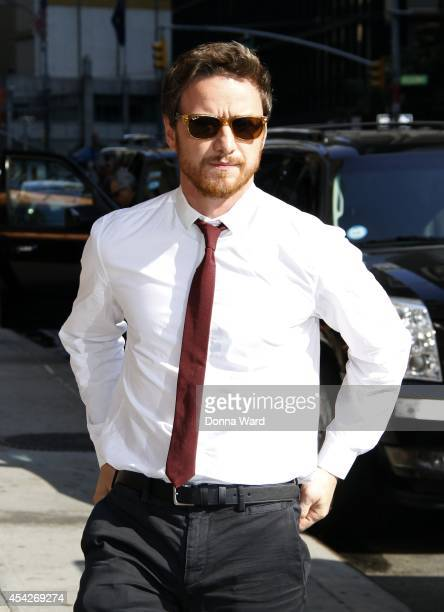 James McAvoy leaves the 'Late Show with David Letterman' at Ed Sullivan Theater on August 27 2014 in New York City