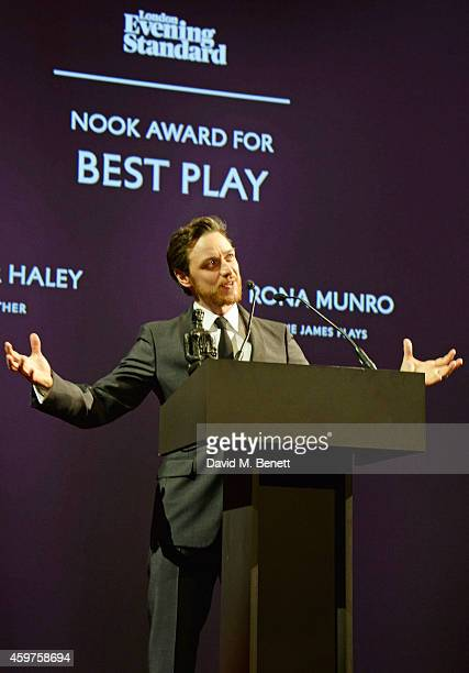 James McAvoy presents the Nook Award for Best Play at the 60th London Evening Standard Theatre Awards at the London Palladium on November 30 2014 in...