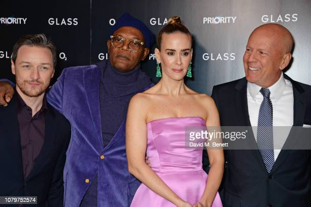 """James McAvoy, Samuel L. Jackson, Sarah Paulson and Bruce Willis attend the UK Premiere of """"Glass"""" at The Curzon Mayfair on January 9, 2019 in London,..."""