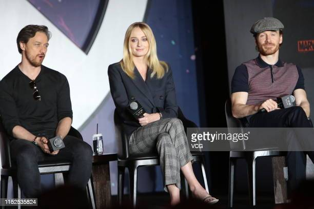 James McAvoy, Sophie Turner and Michael Fassbender attend a press conference of 'X-Men: Dark Phoenix' on May 29, 2019 in Beijing, China.